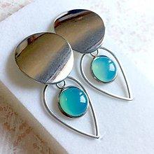 Náušnice - Natural Blue-Green Chalcedony Stainless Steel Earrings / Náušnice s modro-zeleným chalcedónom (chirurgická oceľ) - 10905931_