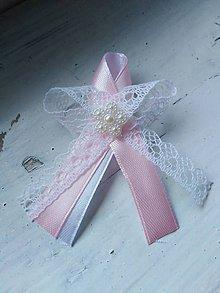 Pierka - Svadobné pierko ružové s čipkou - 10906234_