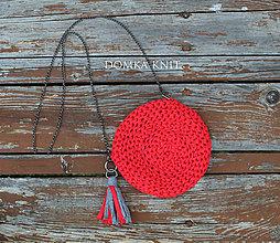 Kabelky - Červeno sivá háčkovaná kabelka - 10904384_
