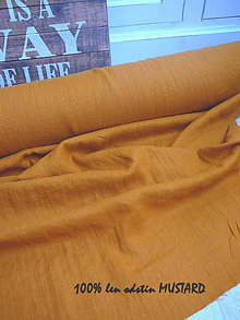 Textil - odstín MUSTARD ..100% len metráž - 10904960_