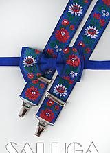 Doplnky - Folklórny pánsky modrý motýlik a traky - folkový - ľudový - 10906156_