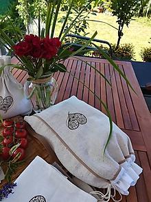 Úžitkový textil - Ľanové vrecko z ručne tkaného plátna - 10905475_