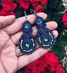 Náušnice - Sujtášové náušnice MELODY (Modrá so smaragdovou) - 10903823_