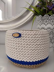 Košíky - Košík pletený v námorníckom štýle - 10904924_