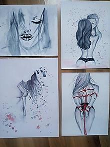 Obrazy - Čierna, biela, červená♥ set 4 ks - 10905794_