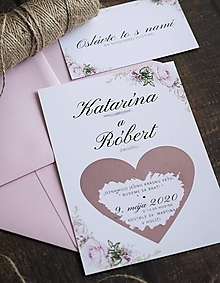 Papiernictvo - Svadobné oznámenie - Ružové srdiečko ❤ - 10905353_