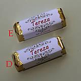 Darčeky pre svadobčanov - Čokoládové menovky, darček na redový tanec - 10905296_