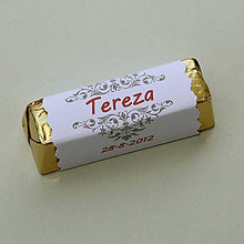 Darčeky pre svadobčanov - Čokoládové menovky, darček na redový tanec - 10905276_