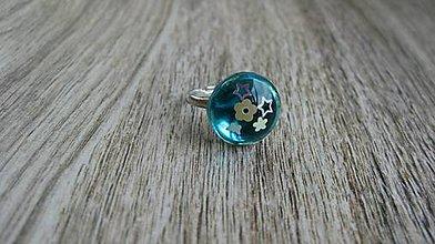 Prstene - Živicový prsteň guľatý - chirurgická oceľ (zeleno modrý č. 2788) - 10905047_