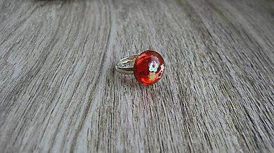 Detské doplnky - Detský prsteň červený z flitrami, (č. 2797) - 10905192_
