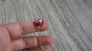 Detské doplnky - Detský prsteň červený z flitrami, (č. 2799) - 10905220_