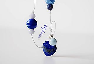 Náhrdelníky - Srdcový Lapisový náhrdelník - 10904487_