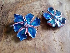 Náušnice - Náušnice modro ružové - 10906097_