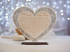 Darčeky pre svadobčanov - Poďakovanie rodičom srdiečko čipkované - 10907796_