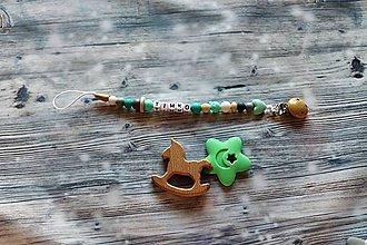 Detské doplnky - držiak na cumeľ alebo hryzátko (Zelená) - 10908153_