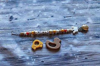 Detské doplnky - držiak na cumeľ alebo hryzátko (Oranžová) - 10908161_