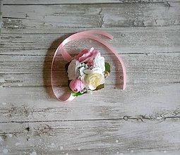 Kytice pre nevestu - svadobný náramok krémovo-ružovo-biely - 10907204_