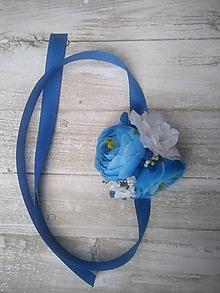 Kytice pre nevestu - svadobný náramok modro-biely - 10907234_