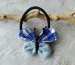 Ozdoby do vlasov - Gumička - motýlik v modrom - 10908142_