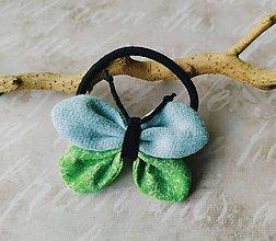 Ozdoby do vlasov - Gumička - motýlik - zeleno-modrý - 10908184_