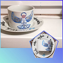 Nádoby - Maľovaná šálka Modrý anjel - 10907156_