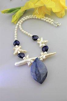 Náhrdelníky - dumortierit,lapis perly náhrdelník luxusný - 10906834_