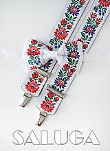 Folklórny pánsky biely motýlik a traky - folkový - ľudový