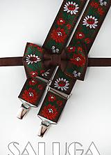 Folklórny pánsky hnedý motýlik a traky - folkový - ľudový