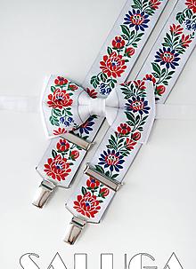 Doplnky - Folklórny pánsky biely motýlik a traky - folkový - ľudový - 10907076_