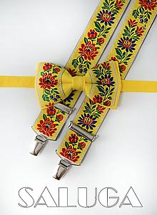 Doplnky - Folklórny pánsky žltý motýlik a traky - folkový - ľudový - 10907082_