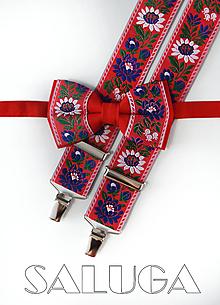Doplnky - Set - folklórny pánsky motýlik a traky - červený - folk - 10907154_