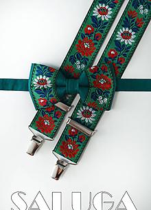Doplnky - Folklórny pánsky zelený motýlik a traky - folkový - ľudový - 10907182_