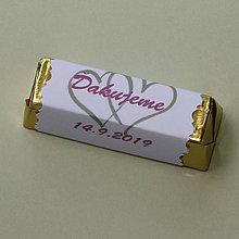 Darčeky pre svadobčanov - Čokoládové ďakujem pre svadobných hostí - obrázok môže byť aj iný - 10906451_