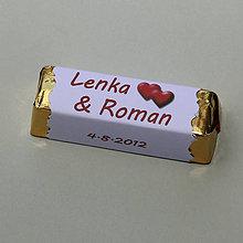 Darčeky pre svadobčanov - Čokoládové menovky, darček na redový tanec - 10906468_