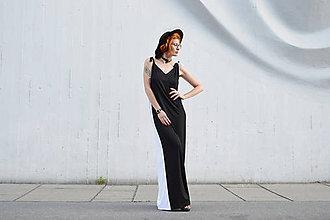 Šaty - Dlhé čiernobiele variabilné šaty - 10907324_