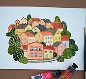 Kresby - Mestečko / Originál ilustrácia - 10908195_