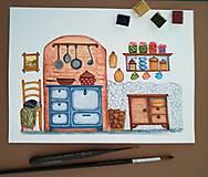 Obrazy - U babičky v kuchyni / Originál ilustrácia - 10908230_