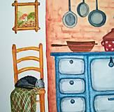 Obrazy - U babičky v kuchyni / Originál ilustrácia - 10908231_