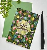 Kresby - Pohľadnica / Narodeniny / Lúčne kvety - 10908431_