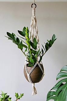 Dekorácie - Makramé držiak na kvetináč // Mäta (dĺžka 80 cm) - 10907621_