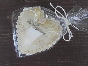 Darčeky pre svadobčanov - Srdiečko do dlane-svadobné,   (Béžová) - 10906574_