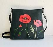 "Kabelky - MILA ""Poppies"" kožená kabelka s maľovaným obrázkom - 10907655_"