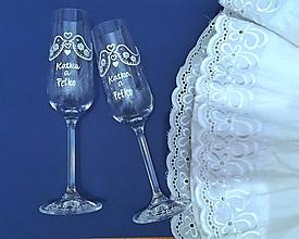 Nádoby - Svadobné poháre - folk vtáčiky - 10910389_