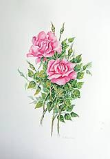 Obrazy - Ružové ruže - 10910236_