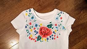 Tričká - Maľované tričko Ruža - 10909971_