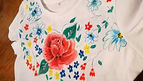 Tričká - Maľované tričko Ruža - 10909972_