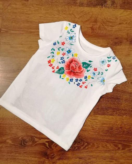 Maľované tričko Ruža