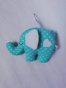 Hračky - Darčeky pre malých svadobčanov - sloníky (Tyrkysová) - 10910566_