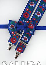 Doplnky - Folklórny pánsky modrý motýlik a traky - folkový - ľudový - 10910201_