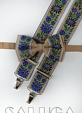 Doplnky - Folklórny pánsky hnedý motýlik a traky - folkový - ľudový - 10910262_